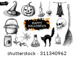 vector hand drawn halloween set.... | Shutterstock .eps vector #311340962