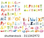 cute modern alphabet with funny ... | Shutterstock . vector #311342972