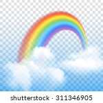 bright arched rainbow with... | Shutterstock .eps vector #311346905