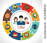 crm concept with customers... | Shutterstock .eps vector #311348432