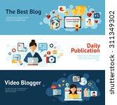 blogger horizontal banner set...   Shutterstock .eps vector #311349302