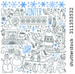 Winter Season Themed Doodle Se...
