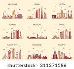 Stock vector arabian peninsula skylines detailed silhouette abu dhabi dubai mecca riyadh muscat doha 311371586