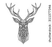 deer head stylized in zentangle ...   Shutterstock .eps vector #311377346