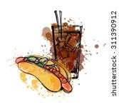 hot dog and cola  vector... | Shutterstock .eps vector #311390912