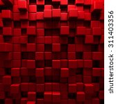 abstract red cube blocks wall... | Shutterstock . vector #311403356