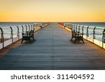 sunset pier at saltburn by the...