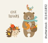 cute thanksgiving greeting card ... | Shutterstock .eps vector #311411852