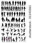 silhouette people set | Shutterstock .eps vector #31143361