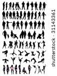 silhouette people set | Shutterstock .eps vector #31143361