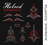 set of vintage pin striping... | Shutterstock .eps vector #311439716