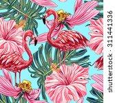 Pink Flamingos  Tropical...