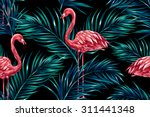 pink flamingos  tropical palm... | Shutterstock .eps vector #311441348