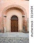 ancient wood door in saluzzo  a ... | Shutterstock . vector #3114434