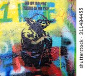 Small photo of PRAGUE, CZECH REPUBLIC - AUGUST 312015: Various pictures and text messages 'decorate' the John Lennon Wall in Prague, which is very popular among young artists and tourists.