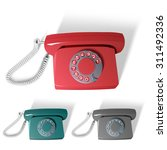 retro phone in different colors.... | Shutterstock .eps vector #311492336