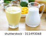 mango lassi. mango smoothie... | Shutterstock . vector #311493068