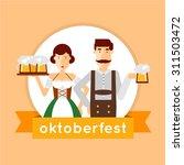 oktoberfest man and a woman... | Shutterstock .eps vector #311503472