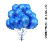 Set Of Blue Balloons Isolated...