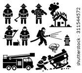 firefighter fireman rescue... | Shutterstock .eps vector #311544572