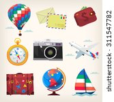 set of colorful traveling... | Shutterstock .eps vector #311547782