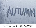 autumn rain  the inscription on ... | Shutterstock . vector #311563766