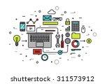 thin line flat design of... | Shutterstock .eps vector #311573912