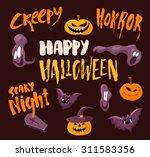 happy halloween poster template ... | Shutterstock .eps vector #311583356