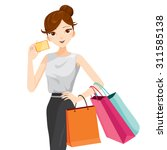 Woman Holding Card And Shoppin...