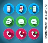 colorful flat phone icons with...