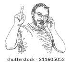 sketch of man talking mobile...