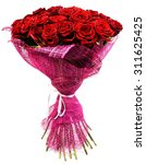 Stock photo bouquet of roses in pink package isolated on white 311625425