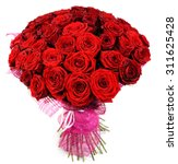 Stock photo bouquet of roses in pink package isolated on white 311625428