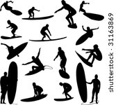 surfers collection   vector | Shutterstock .eps vector #31163869
