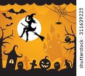 cartoon background on halloween ...   Shutterstock .eps vector #311639225