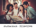 multiracial friends tourists... | Shutterstock . vector #311641346