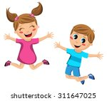 Happy Kids Jumping Isolated