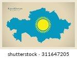 modern map   kazakhstan flag... | Shutterstock .eps vector #311647205