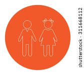 girl and boy. flat white symbol ... | Shutterstock . vector #311668112