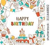 vector happy birthday... | Shutterstock .eps vector #311668802