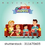 family eating popcorn and... | Shutterstock .eps vector #311670605