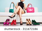 Colorful Shoes And Bags With...
