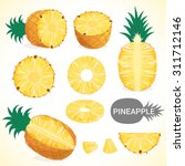 set of pineapple fruit in... | Shutterstock .eps vector #311712146