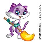 illustration of cute purple cat ... | Shutterstock .eps vector #311712272