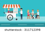 business people eating on... | Shutterstock .eps vector #311712398