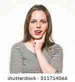Woman Portrait Tongue Smiling...