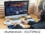rear view of a businessman... | Shutterstock . vector #311729612