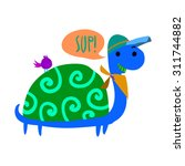 cartoon turtle flat mascot icon....