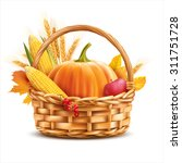 basket with vegetables and... | Shutterstock .eps vector #311751728