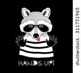 doodle portrait of raccoon in... | Shutterstock .eps vector #311751965